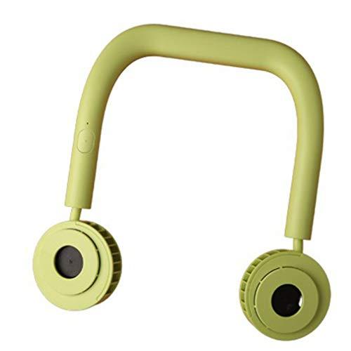 HehiFRlark Portable Hanging Neck Binaural Turbo Fan Binaural Neck Vortex Fan Lazy Fan Verde Fluorescente
