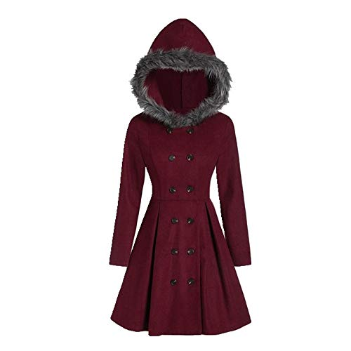 N\P Autumn Winter Women Hooded Coat Slim Double Breasted Mid-Length Coat Female Red