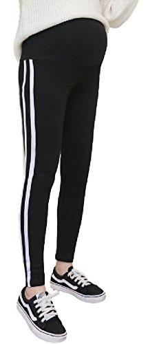 (ミズミス)Ms.Missマタニティサイドラインレギンスパンツ2本ライン大きいサイズウエストゴム調節可(ブラック,M)