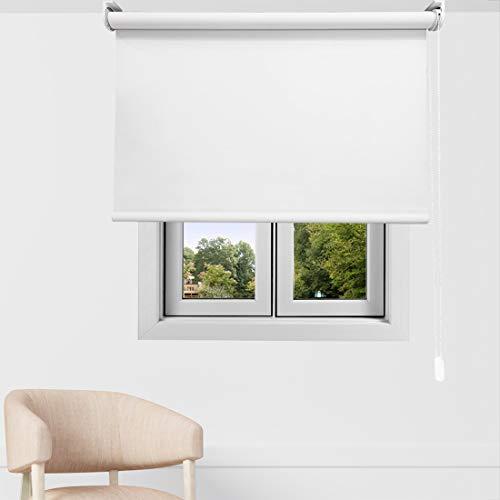 EB ESTORES BARATOS Estor Enrollable Opaco Premium. Regulador de Luz y Temperatura FABRICACIÓN A Medida! Desde 40 cm hasta 300 cm de Ancho. Color: Blanco. Medidas: 40cm x 60cm