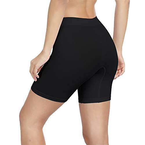 SIHOHAN Womens Slip Shorts Comfortable Short Pants Ultra Soft Seamless long briefs for Under Dresses Leggings and Yoga Sports(Medium, Black)