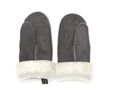 Lammfell Handschuhe Fäustlinge grau mit weißen Fell, Größenbeschreibung siehe Produktbeschreibung (M, Grau - Weiß)