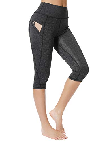 FITTOO Women's Capris Workout Legging Running Tights Yoga Pants with Side Pocket, Black, M