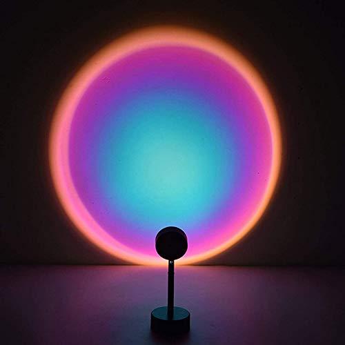 Sunset Projektorlampe, LED-Nachtlicht, 180 ° drehbar, Umgebungslicht, romantische Projektionslampe mit Regenbogen, LED, Wanddekoration, bunte Lampe für Fotos