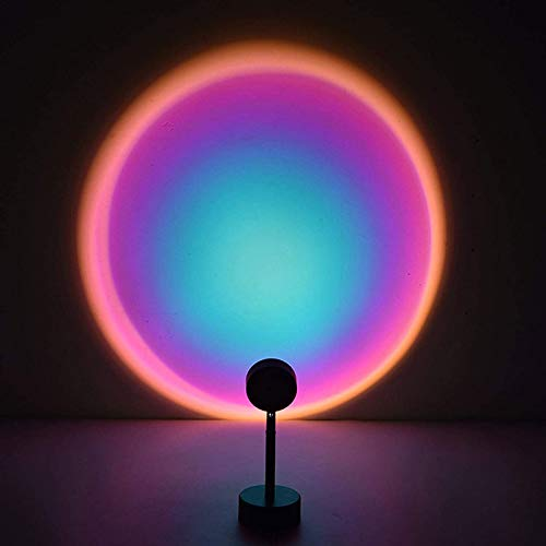 Lámpara Proyector Sunset, Luz Nocturna LED, RotacióN de 180 ° Luz Ambiental, Lámpara de Proyección Romántica del Arco Iris LED,Decoración de Pared, Lámpara Colorida para Tomar Fotos