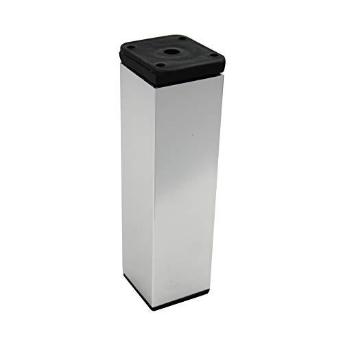 MS Beschläge Möbelfuss Tischbein aus Aluminium Ausführung Chrom 40mmx 40mm Diverse Höhen (150mm)