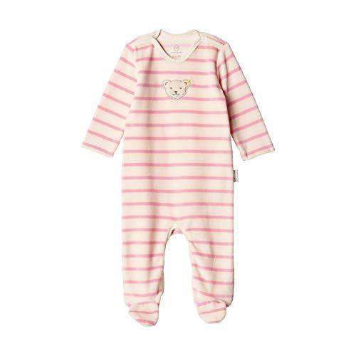 Steiff Unisex Baby Romper aus Bio-Baumwolle mit Streifen, Rosa (Sea Pink 3014), 56 (Herstellergröße: 56)