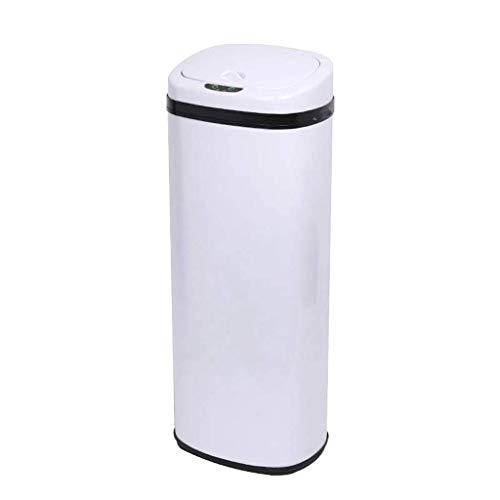 HJCA prullenbak - contactloze schakelaar sensor intelligente sensor prullenbak keuken woonkamer creatieve slaapkamer roestvrij staal opslag mand - (zwart/wit/zilver) Huishoudelijke decoratieve opslag buck