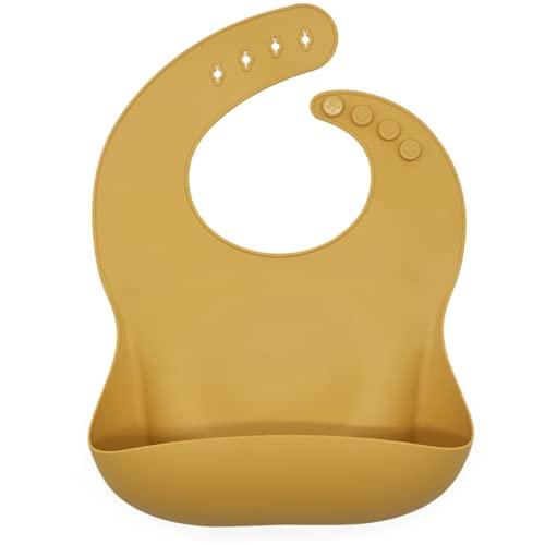 HOMYBABY® Babero silicona bebe | Baberos impermeables bebe ajustable y resistente | Babero bebe recien nacido con bolsillo para comida | Diseño moderno unisex | Fácil de limpiar, seguro, ligero [OCRE]