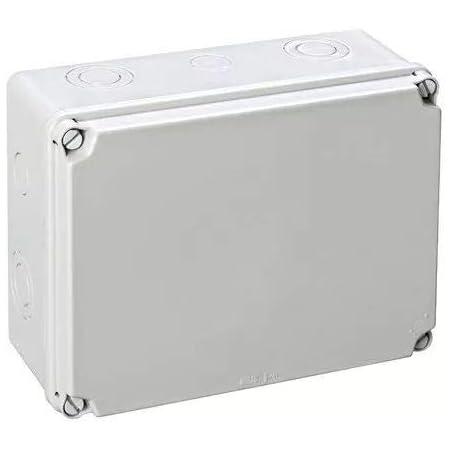 IDE EX231 IP65-IP67 Caja Estanca de Derivación con Tapa Opaca y Entradas Pretroqueladas, Gris, 179 mm x 244 mm x 99 mm