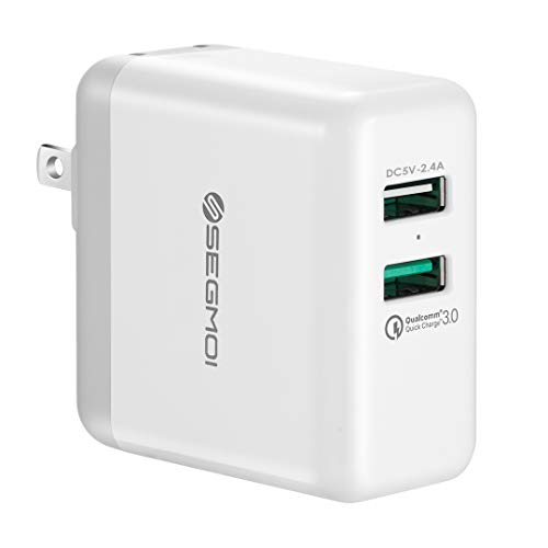 Qualcomm 18W Quick Charge 3.0 Wall Plug Charger,Portable Power Adapter Dual Port USB Charging Block Cube for iPhone X/8/8 Plus/7/7Plus/6 6s +/5S/iPad 2 3 Mini/Air/Pro Samsung S9/S9+/S8/S7/S6/Edge