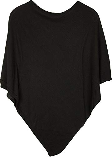 styleBREAKER Damen Feinstrick Poncho in Unifarben, leicht asymmetrischer Schnitt, Ärmellos, Rundhals 08010042, Farbe:Schwarz