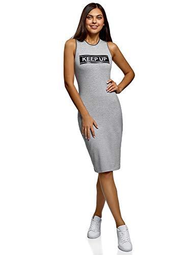 oodji Ultra Mujer Vestido de Algodón Ajustado, Gris, ES 40 / M