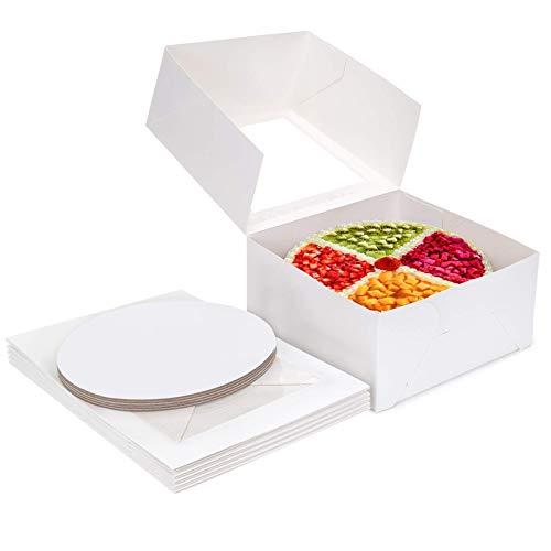 Cajas para pasteles Paquete de 5 Cajas para pasteles de cartón blanco con 8x8x5 pulgadas 10x10x5 pulgadas Cajas de panadería con almohadilla para decoración de pasteles y pasteles Large