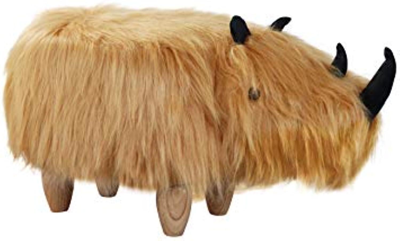 THC Living Tierhocker Nashorn fluffig - Deko Hocker - Kinderhocker - Wilde Tiere Kinder Hocker - Wild Animals (Rhino)