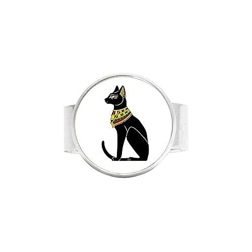 chaosong shop Anillo de dioses de gato egipcio hecho a mano para mujer
