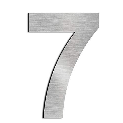 nanly Número de casa moderna-25.4Centímetros/10 pulgadas-Acero inoxidable, Apariencia flotante, Fácil de instalar y hecho de acero inoxidable sólido 304(Número 7)