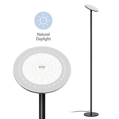 TROND Halo X LED Torchiere Floor Lamp Dimmable 30W, 5500K Natural Daylight (Not Warm Yellow), Max. 4200lm, 71-Inch, 30-Minute Timer (Black)