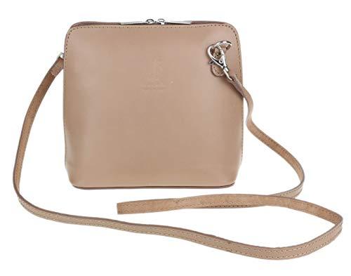 Girly Handbags Echtes Leder Umhängetasche Messenger Schultertasche italienisch Tasche (Taupe)
