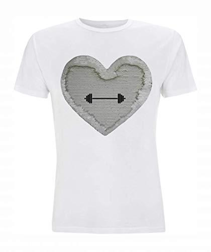 Druckerlebnis24 Camiseta Reversible con Lentejuelas y Mancuernas largas, Fitness, Salud, Deporte, Entrenamiento, Levantamiento de Pesas, para Hombre, Mujer, niño y niña