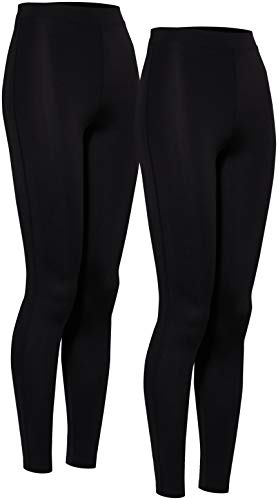 Amazon-Marke: AURIQUE Damen Sport Leggings Multi Pack, Schwarz (Black), 38, Label:M