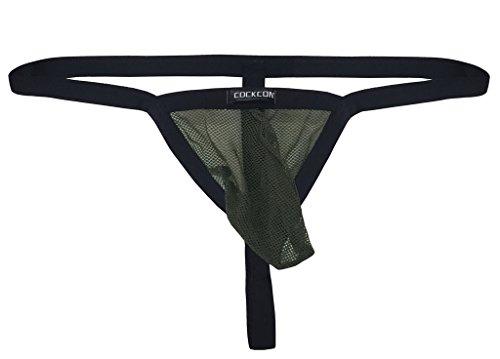 WINDAY Men's Sexy Underwear Thong G-String Elastic Smooth Bikini Underwear Army Green