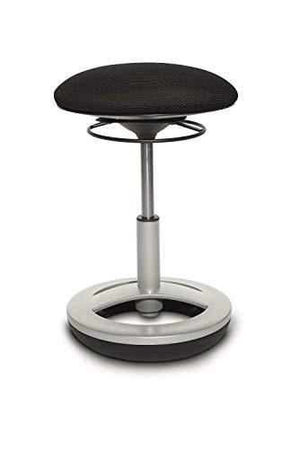 Topstar Sitness Bob, ergonomischer Sitzhocker, Arbeitshocker, Bürohocker mit Schwingeffekt, Sitzhöhenverstellung, Standfußring Alu Silber grau, Stoffbezug, schwarz