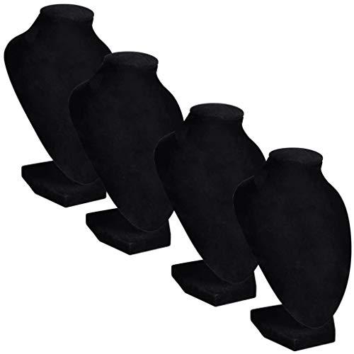 vidaXL 4X Expositor de Collares Joyas en Forma de Busto Franela Negro Soporte
