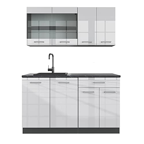 VICCO Küchenzeile R-LINE Single Einbauküche 140 cm Küche Küchenblock Singleküche (Weiß Hochglanz)