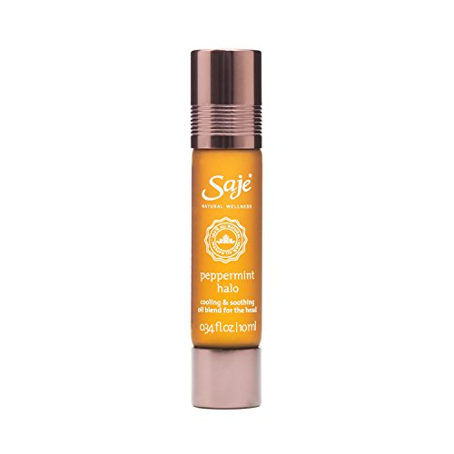 Saje Peppermint Halo Essential Oil Blend, Soothes the Head, Roll-On Application, 100% Natural (0.34 fl oz)
