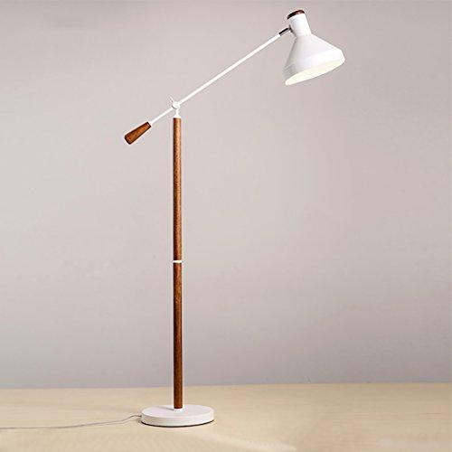 Lampadaire étude salon salon lit en bois massif rétro créative LED bras long lampe Lampe sur pied de salon (Couleur : Blanc)