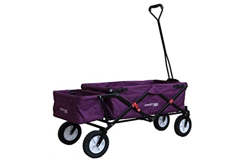 Original Crotec CT-200 Folding Camping Cart 4 Wheeled Collapsible Festival Trolley, Day Out Wagon, Purple