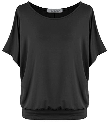 Van Der Rich ® - Oversize T-Shirt mit Fledermausärme (Made in Italy) - Damen(Schwarz, XL)