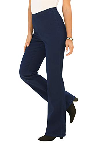 Roamans Women's Plus Size Petite Bootcut Pull-On Stretch Jean Elastic Waist - 20 Wp, Indigo Wash