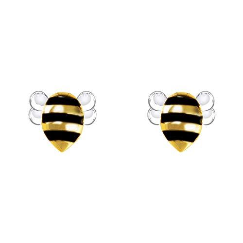 VIKI LYNN Cute Honeybee Stud Earrings Lovely Bee Sterling Silver Earrings Jewelry for Women