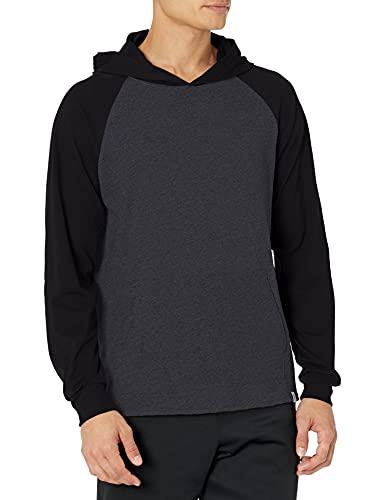 Russell Athletic Men's Lightweight Essential Cotton Hoodie, Black Heather/Black, Large