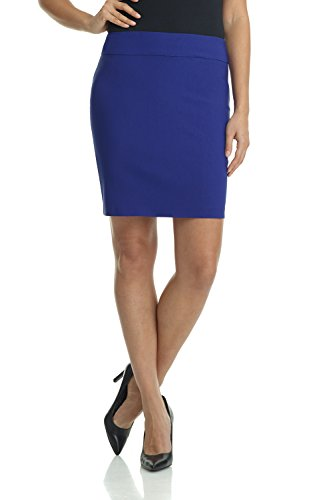 Rekucci Women's Ease Into Comfort Above The Knee Stretch Pencil Skirt 19 inch (Small,Sapphire)