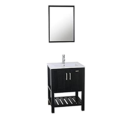 "eclife 24"" Bathroom Vanity Sink Combo W/Overflow White Drop in Ceramic Vessel Sink Top & Black MDF Modern Bathroom Cabinet & Chrome Solid Brass Faucet & Pop Up Drain W/Mirror (A08B07)"