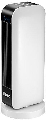 UNOLD 86430 Keramik-Heizlüfter Design, Fernbedienung mit Batterien, 2000 W, 230 V, Schwarz/Weiß