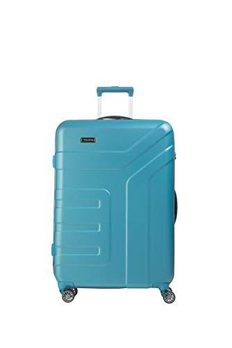 travelite 4-Rad Koffer Größe L mit TSA Schloss, Gepäck Serie VECTOR: Robuster Hartschalen Trolley in stylischen Farben, 072049-21, 77 cm, 103 Liter, türkis