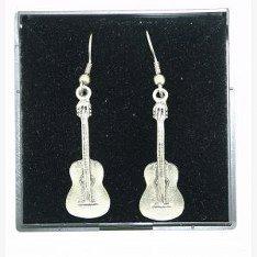 Feine Qualität, aus englischem Zinn, Design Gitarre Ohrringe, Pflanzenschaufel- und