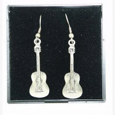 Fine Quality English Pewter Guitar Design Earrings, Lovely Gift Idea