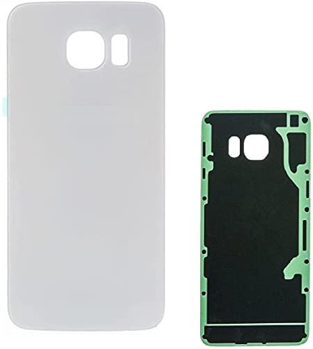KIT 2 Pezzi Copri Batteria + biadesivo compatibile per Samsung Galaxy S6 SM-G920F G920 G920F Ricambio Vetro Posteriore Back Cover Retro Scocca + adesivo (Bianco)