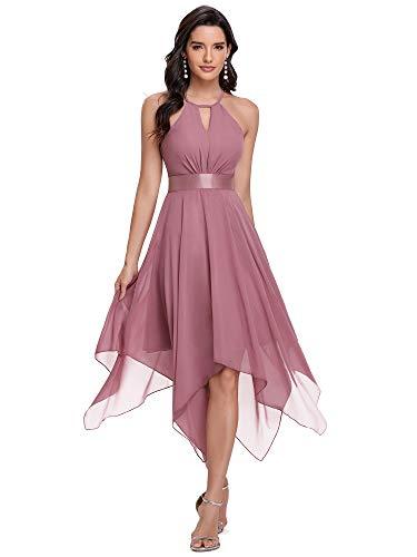 Ever-Pretty Vestido de Fiesta Asimétrico Largo para Mujer Escote Halter Corte Imperio Gasa Orquídea 36
