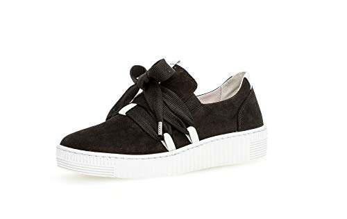 Gabor Damen Sneaker, Frauen Low-Top Sneaker,Best Fitting,Optifit- Wechselfußbett, Ladies feminin elegant Women's Women,schwarz/Weiss,42 EU / 8 UK