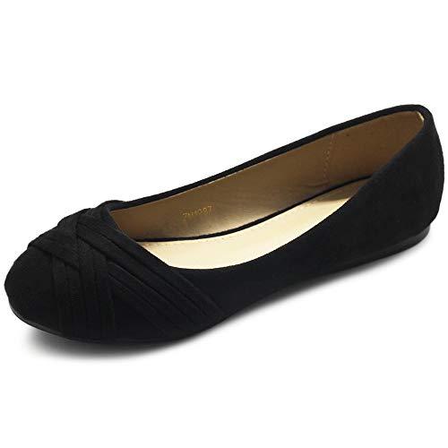Ollio Women Ballet Shoe Cute Casuals Comfort Flat ZM1987 (8 B(M) US, Black)
