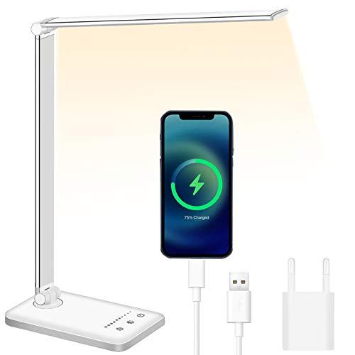 Lampada da Scrivania Lampada Led Scrivania Protezione Degli Occhi, lampada Touch Control Pieghevole per casa, ufficio, con porta di ricarica USB, 10 livelli di luminosità 5 modalità di illuminazione.