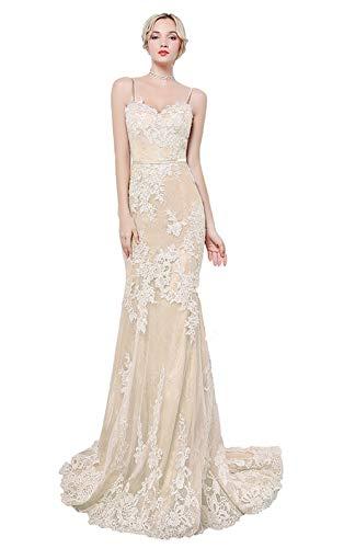 Special Bridal Frauen dünne Schultergurt Klassische Spitze Meerjungfrau Abendkleid ärmellos elegant sexy 2019 Partykleid