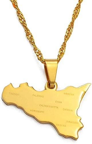 WYDSFWL Collar Italia Mapa de Sicilia con Nombres de Ciudades Colgantes Collares Color Dorado Joyería Italiana Sicilia Regalos Collar Collar