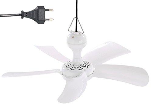 Sichler Haushaltsgeräte Mini Deckenventilator: Mobiler Decken-Ventilator VT-141.D mit Aufhänger, 41 cm, 9 W (Reiseventilator)